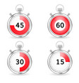 realistic stopwatch with red dial and seconds bar vector image