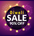 amazing diwali sale banner with lights and vector image