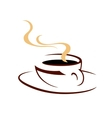 Steaming hot cup of aromatic coffee vector image