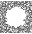 Background with baroque ornamental floral silver vector image