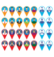 Male and female faces icons with GPS sign location vector image