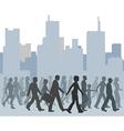 Crowd of people walking city skyline vector image
