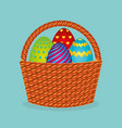 cute basket with eggs painted vector image