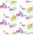 summer flamingo and palm tropic branches seamless vector image