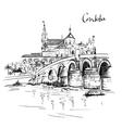 Mezquita and Roman bridge in Cordoba Spain vector image