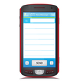 Copy Space for SMS text on touch screen phone vector image vector image