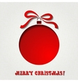 Christmas paper card with balls and ribbon vector image vector image