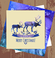 Deers christmas watercolor card vector image vector image