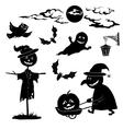 Halloween cartoon set black silhouette vector image