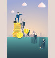 business man standing on coin stack point finger vector image