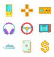 casino jackpot icons set cartoon style vector image