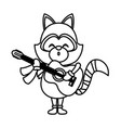 cute raccoon playing guitar vector image