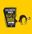 Halloween cat bubble card vector image