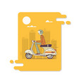 hipster man riding fast retro scootersmodern thin vector image