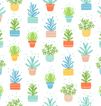 Succulents colorful doodle pattern vector image