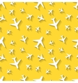 White airplane icons with shadow on yellow vector image