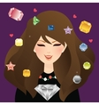 woman girl female smile with diamond crystal and vector image