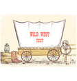 wild west wagon cowboy background vector image vector image