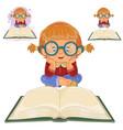 small girl reading a book vector image