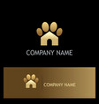 gold dog house pet logo vector image