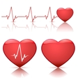 hearts with heartbeat vector image