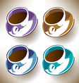 Four colorful coffee cups vector image vector image