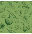 Hand drawn seamless set of organic spices vector