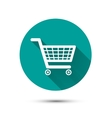 Shopping cart flat icon on green with long shadow vector image