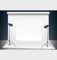 photo studio with a light and blank background vector image