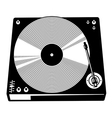 Retro turntable silhouette vector image