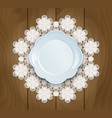 plate on a lace vector image
