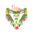 tropical flamingo bird and flowers background vector image vector image