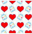 heart and tablets pattern vector image vector image