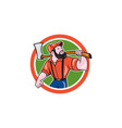 LumberJack Holding Axe Circle Cartoon vector image vector image