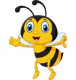 Funny bee flying isolated on white background vector image