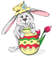 easter rabbit with egg and flower vector image