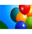 Spring background with colourful balloons vector image