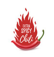 Extra spicy chili paper poster template vector image