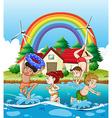 Children swimming in the sea vector image