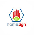 home sign hand realty logo vector image