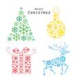 merry christmas tree reindeer gift snowflake vector image