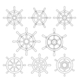 Ship Helm Thin Line Icons Set vector image