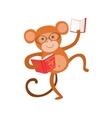 Monkey Smiling Bookworm Zoo Character Wearing vector image vector image