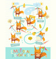 funny fox with colorful umbrella expressing vector image