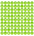 100 network icons set green vector image vector image