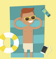 young character lying on the beach top view flat vector image