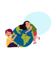 kids hugging smiling globe earth planet character vector image
