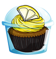 A flavorful cupcake inside a covered cup vector image vector image