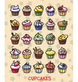 different colorful delicious cupcakes vector image