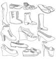 Shoes coloring book vector image